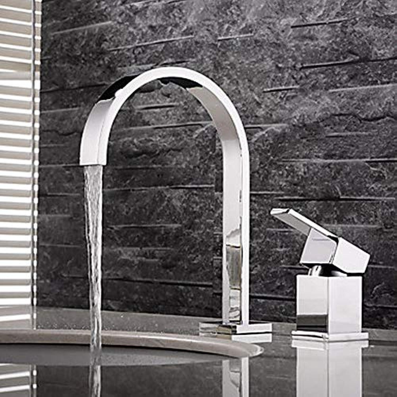 Ayhuir Waschbecken Wasserhahn - Weit Verbreitet Chrom Einhand-Doppel-Loch-Wasserhahn