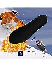 Plantillas calefactables eléctricas recargables con control remoto inteligente para calentar plantillas de pie calentador de corte a ajuste para mujeres hombres invierno caza pesca senderismo camping