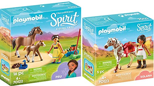PLAYMOBIL® Spirit 2er Set 70122 70123 PRU mit Pferd und Fohlen + Solana beim Voltigieren