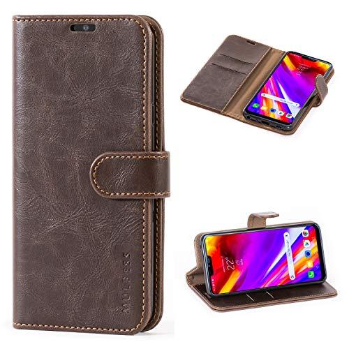 Mulbess Handyhülle für LG G7 ThinQ Hülle Leder, LG G7 ThinQ Handy Hüllen, Vintage Flip Handytasche Schutzhülle für LG G7 ThinQ Hülle, Kaffee Braun
