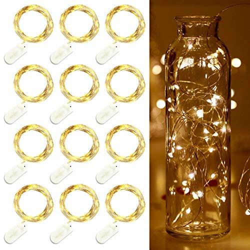 LED Fées Guirlande 20 LEDs Feux Cordes avec Bouton Batterie Lumières D'étoile Fête De Noël De Mariage Table Bouteille Décoration Blanc Chaud 12 Pack