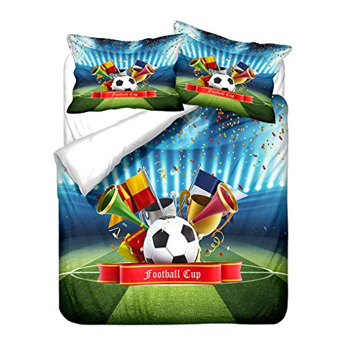 HNHDDZ 3D Football Print Soft Breathable Bedding set Sports Earth Starry Sky Cool Duvet Cover and Pillowcase Microfiber Child Boy Kid (Style 1,Double 200x200 cm)