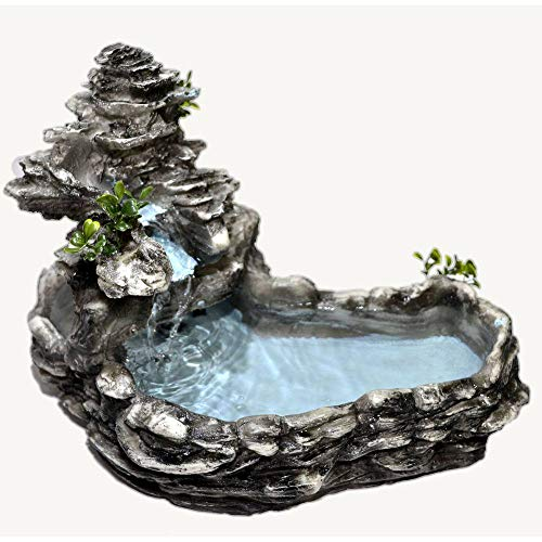 Fonte Agua Cascata decorativa Laguinho tipo pedra Cinza.