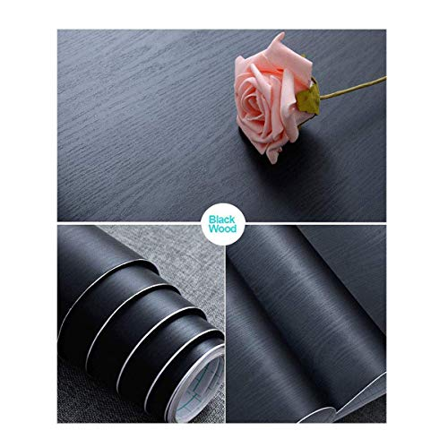 Black Wood Peel and Stick Paper 11.8' X 78.7' Decorative Self-Adhesive Film for Furniture Surfaces Easy to Clean Easy to Clean Thickening Upgrade Increase Stomata and Reduces Bubble Generation