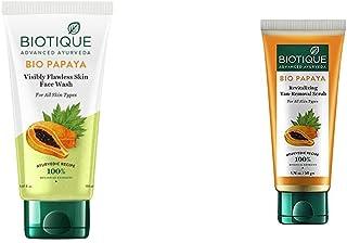 Biotique Bio Papaya Visibly Flawless Skin Face Wash For All Skin Types, 150ml & Biotique Bio Papaya Revitalizing Tan Remov...