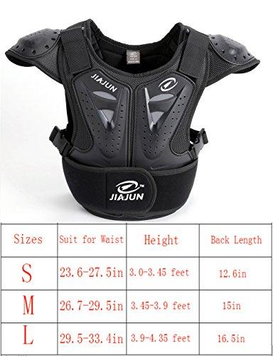 BARHAR Kids Dirt Bike Body Chest Spine Protector Armor Vest Protective Gear for Dirtbike Bike Motocross Skiing Snowboarding (Black, S)