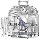 Jaula de pájaros Acero Inoxidable Pequeño Budgie Finch Canary Bird Cause 42 * 37 * 54cm Pet Hogar, Portátil Pequeño Parrot Viajes Jaula Pet Bird Cause Casa Pet lucar