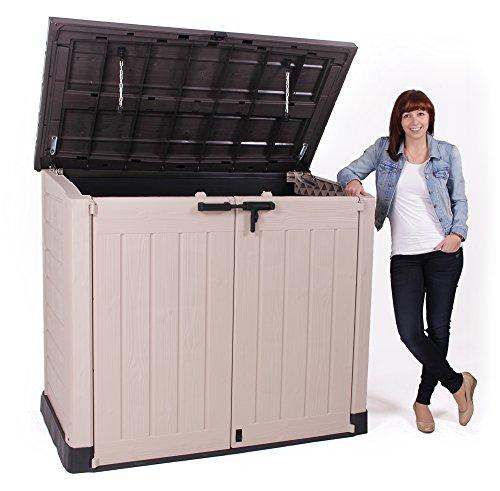 Keter Store It Out Max Gartenbox Mülltonnenbox Gerätebox Schuppen für 2 x 240 Liter Mülltonnen (Beige Braun) - 4