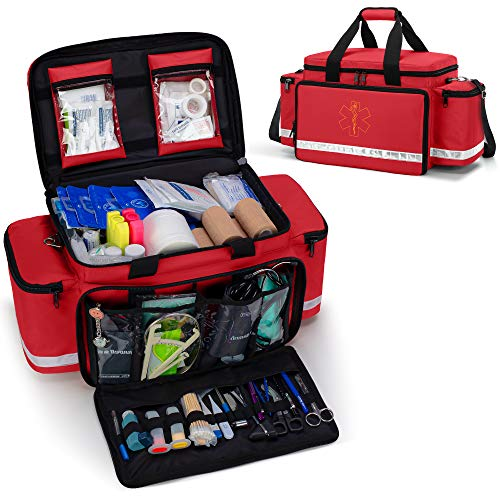 Trunab Emergency Responder Trauma Bag Empty, Professional First Aid Kits Storage Medical Bag with Inner Dividers and Anti-Scratch Bottom, Ideal for EMT, EMS, Paramedics, Red, Bag ONLY