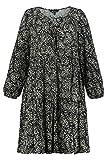 Ulla Popken Kleid, Blätterdruck Robe, Bleu Marine (74889270), 48-50 Femme