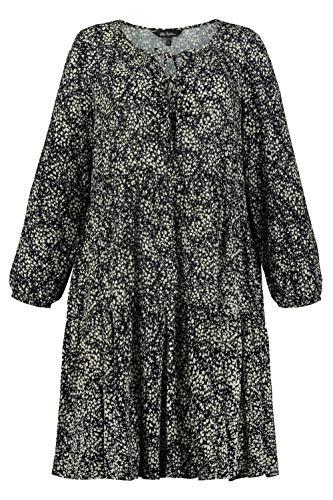 Ulla Popken Damen, Blätterdruck Kleid, Blau (Marine 74889270), 42-44