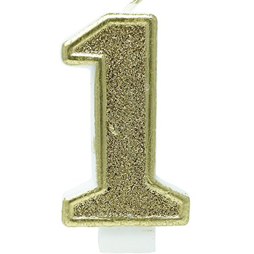 Birthday Party Sparkling Chic Glitter Number Cake Candle (1, Champagne Gold)