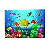 FLAMEER Etiqueta Engomada Tanque Pescados Acuario 3D Fondo Pegatina Fish Tank Pared Decoración Pintura - XXL