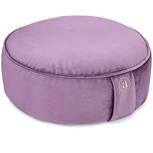 Buckwheat Meditation Cushion Round Zafu Yoga Pillow - Zafu Meditation Cushion Velvet with Zippered Organic Cotton Liner to Add or Remove Hulls | Machine Washable - Free Carry Bag (Amethyst)