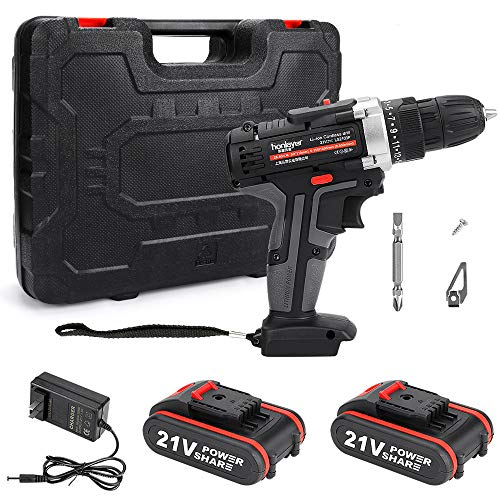 Electric Screwdriver, Achort 21V Cordless Screwdriver, 25+1 Torque Setting Drill Driver 3/8' Keyless Chuck Screwdriver Bit Set, 2 Variable Speed & Built-in LED with 2 Batteries for Home DIY
