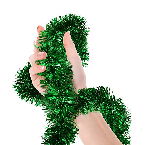 Christmas Tree Bright Green Tinsel Garland Metallic Streamers Celebrate a Holiday Happy New Year Party Ceiling Hanging Decorations Indoor and Outdoor Disco Party Supplies