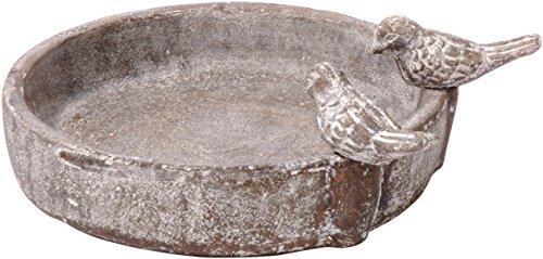 dobar 12971 - Bebedero Redondo para pájaros con Dos pájaros Decorativos, de cerámica para pájaros Silvestres, Color Gris Piedra