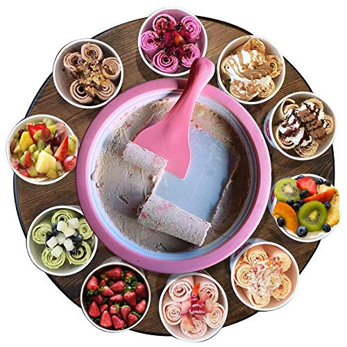 Monsterzeug Roll Eis selber machen, Eiscreme Maschine, Ice Rolls DIY Set, Rolled Ice Cream Maker, Teppanyaki, Rosa, Pink