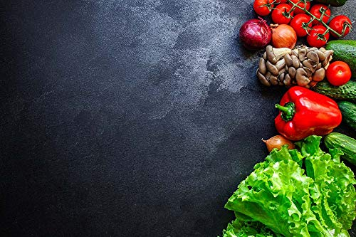 Fondo de fotografía de Alimentos Grunge Pared Verduras Cocina Carne Accesorios Fondos de Comida decoración Tablero de Madera Estudio A10 10x10ft / 3x3m