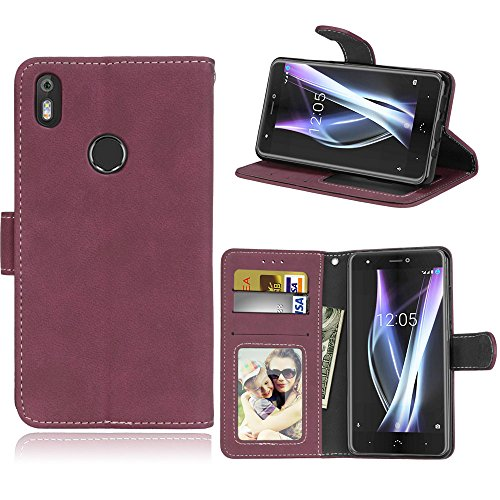BQ Aquaris X/X Pro Hülle, SATURCASE Retro Mattiert PU Lederhülle Magnetverschluss Flip Brieftasche Handy Tasche Schutzhülle Handyhülle Hülle mit Standfunktion für BQ Aquaris X/X Pro (Rose)