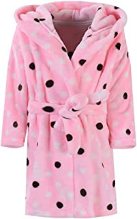 Kids Robe Soft Fleece Hooded Bathrobe Sleepwear for Girls Boys (Peach, 5T)