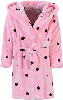 Image of Comfortable Hooded Pink Polka Dot Fleece Robe for Toddler Girls