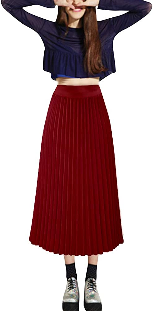Women's High Waist Pleated A Line Midi Skirt Gauze Tulle Night Out Daily Skirts