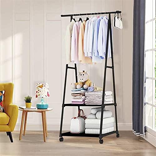 LACHUMU Perchero de color para colgar ropa de pie, estante de almacenamiento para colgar ropa con rueda, estilo simple, muebles de dormitorio (color negro)