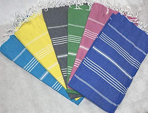 Cottonplant Juego de 6 toallas turcas XL 100% algodón, toalla turca   playa, gimnasio, sauna, hammam peshtemal pareo manta