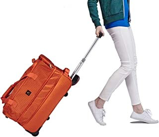 Travel Holdall Bags Trolley Handbag Hand Luggage Ladies With Wheels Holiday lightweit (Color : Orange, Size : 22inches)