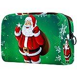 Bolsas de cosméticos para mujer grandes de Navidad doradas negras bolitas bolsa portátil bolsa de viaje maquillaje neceser organizador con cremallera, Multicolored-5, 18.5x7.5x13cm/7.3x3x5.1in,