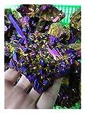 RIMEI Artesanía de Piedra Bastante Raro Dorado y Azul Titanio Arco Iris Aura de Cuarzo de Cuarzo de Cristal espécimen