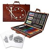 Kiddycolor - Juego de pintura portátil para niños, 85 piezas, pintura y dibujo, colores pastel al óleo, lápiz de color con estuche de madera