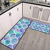 2 Pcs Kitchen Rug Set, Beautiful Fish Scale Colorful Non-Slip Kitchen Mats and Rugs Soft Flannel Non-Slip Area Runner Rugs Washable Durable Doormat Carpet