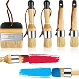 5 Pieces Chalk and Wax Paint Brushes Bristle Stencil Brushes Reusable...