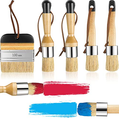 5 Pieces Chalk and Wax Paint Brushes Bristle Stencil Brushes Reusable Smooth Painting Brushes, Including Flat Pointed and Round Chalked Paint Brushes for Wood Projects Furniture Home Decor