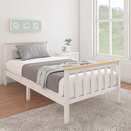 3FT Single Wooden Bed Solid Pine Frame with 2 Headboards and Oak Effect Strip for Adults Kids Teenagers fits 90 x 190cm Mattress (White)