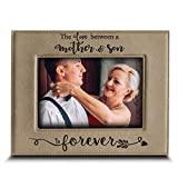 Bella Busta- the love between a Mother and Son is forever- Mother's Day gift from Son- Mom gifts- Christmas Gift- Engraved Leather Picture Frame (5 x 7 Horizontal (Mother & Son))