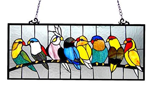 Chloe Lighting Tiffany-Glas mit Vögeln, 25,5 x 10,5 cm