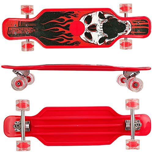 FunTomia Longboard aus Kunststoff BigBoard mit LED Rollen und Griptape MACH1 Kugellager (Rot)