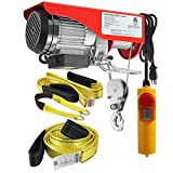 (Bundle Items) Partsam 440 lbs Lift Electric Hoist Crane Remote Control Overhead Crane Garage Ceiling Pulley Winch Bundled with Towing Strap 2PCS 10Feet x 2inch (w/Emergency Stop Switch)