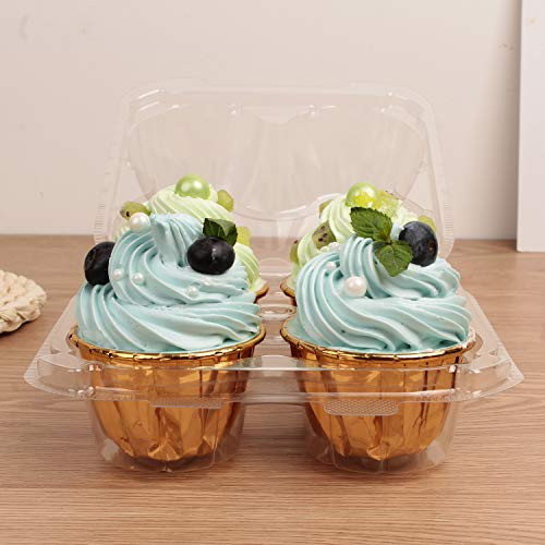Autuneer 4 Cavity Cupcake Containers, 50Packs Cupcake Containers Boxes Four Compartment Cupcake Carrier Holder Stackable Deep Dome Clear Plastic Disposable Cake Storage(50)