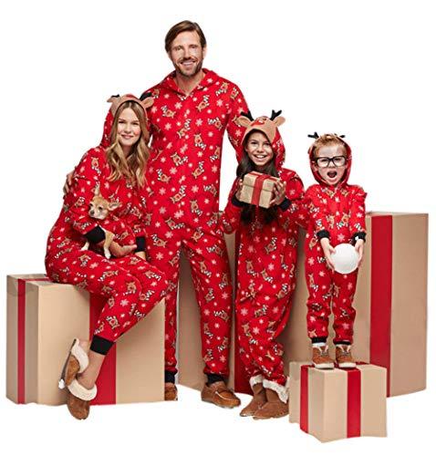 Familie Weihnachten Kapuzenpullover Overall Pyjamas Nachtwäsche Hirsch Langarm Sweatshirt Bodys Kleidung (Mama/S, Rot)