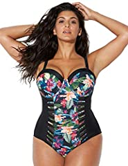 PRODUCT DETAILS: Metal snap closure. Sweetheart neckline. Built-in underwire molded bra cups. Adjustable straps. Fully lined swimsuit. Power Mesh front lining. Cut-out details. FIT & SIZING: Full bottom coverage. Swim Solutions: Tummy Control & Under...