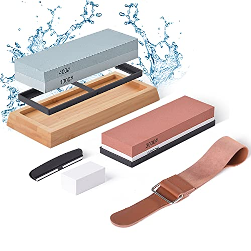 Hivexagon Knife Sharpening Stone Whetstone Kit 4 Side Grit - 400/1000 & 3000/8000 Safe Knife Sharpeners Including Non Slip Bamboo Base, Flatting Stone, Angle Guide and Leather Strop