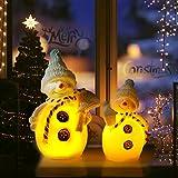 CCLIFE Lámpara de Oso, muñeco de nieve navideño, árbol de navidad Cera LED, Color:Muñeco de nieve, 2 piezas