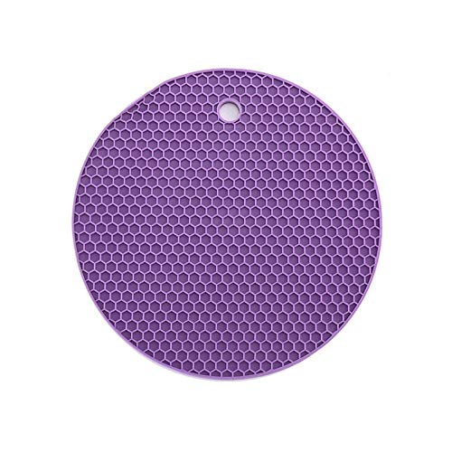 GUONING-L 18/14cm Round Silicone Non-Slip Heat Resistant Mat Placemat Drink Cup Coasters Non-Slip Pot Holder Table Placemat Drink Coasters (Color : Purple, Size : Round)
