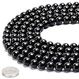 70PCS Natural 8MM Healing Gemstone, Black TourmalineEnergy Stone Round Loose Beads, Semi-Precious Crystal Beads with Free Elastic Stringfor Jewelry Making DIY