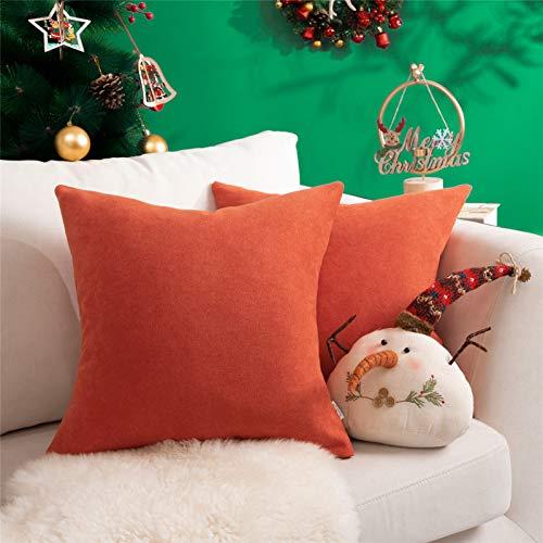Topfinel juego 2 Fundas cojines Cama Sofas de Chenilla Algodón Lino duradero Almohadas Decorativa de color sólido Para Sala de Estar, sofás, camas, sillas Dormitorio Jardín Coche 50x50cm Naranja
