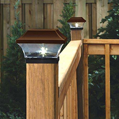 NOMA Solar Post Lights | Waterproof Outdoor Cap Lights for 4 x 4 Wooden Post, Deck, Patio, Garden, Decor or Fence | Warm White LED Lights, 8-Pack (Bronze)